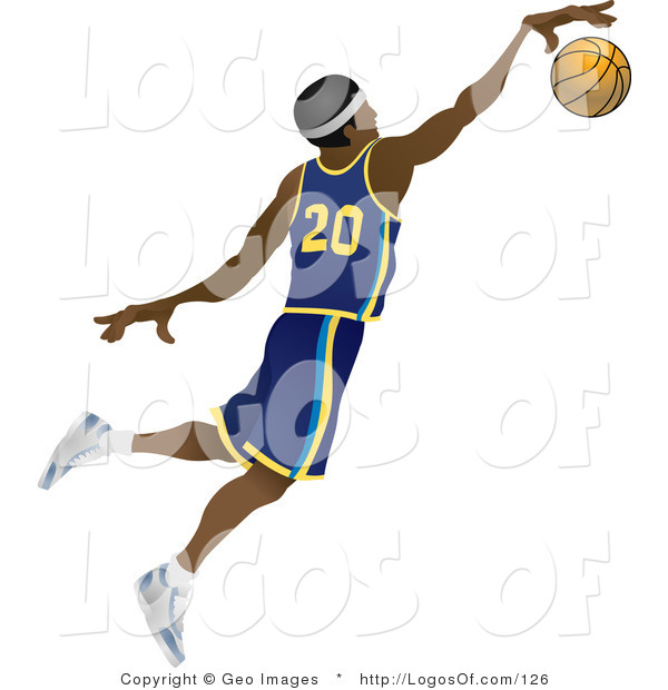 Logo Vector of a Jumping African American Basketball Player