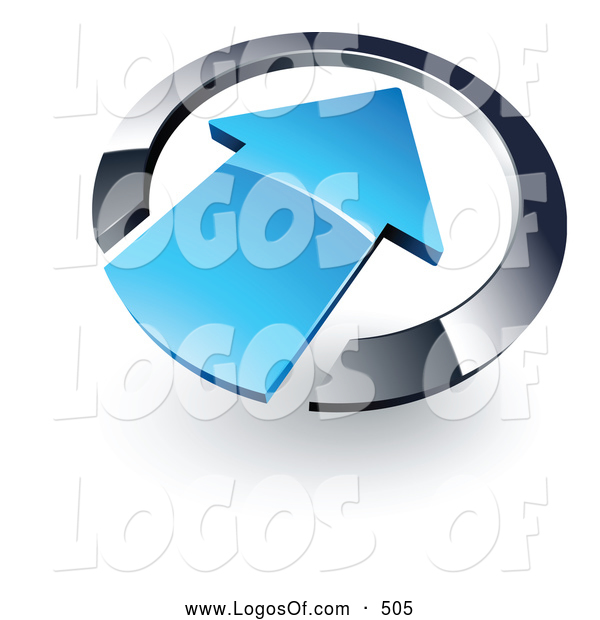 Logo Vector of a Large Blue Arrow Pointing Inwards in a Blue Circle