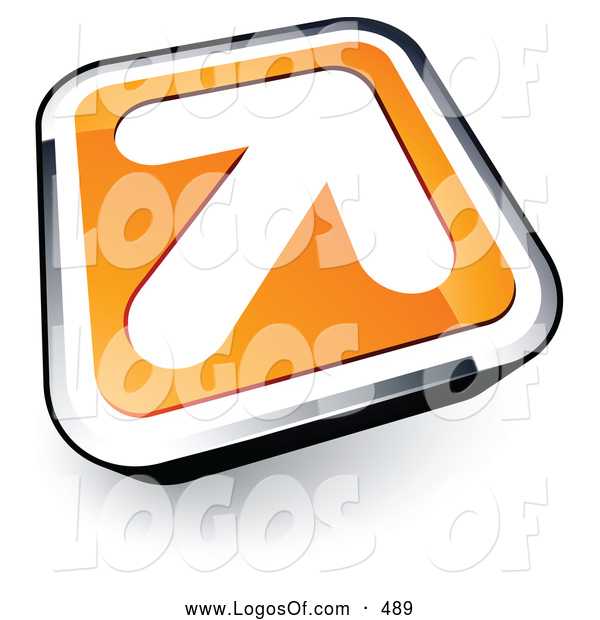 Logo Vector of a Large White Arrow on an Orange and Chrome Button