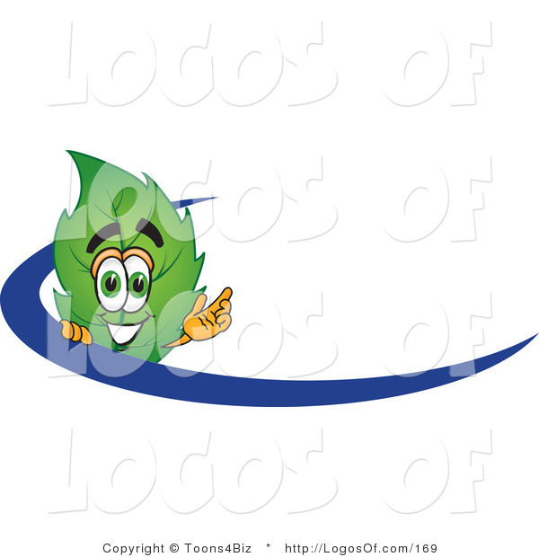 Logo Vector of a Leaf Logo Character Logo with a Blue Dash