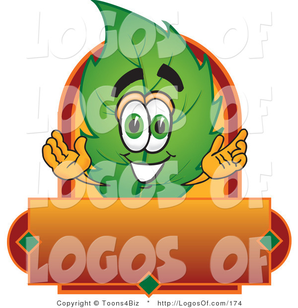 Logo Vector of a Leaf Logo Character with a Red and Orange Label