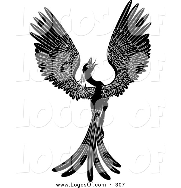 Logo Vector of a Majestic Black Phoenix Fantasy Bird Opening Its Wings and Looking Right
