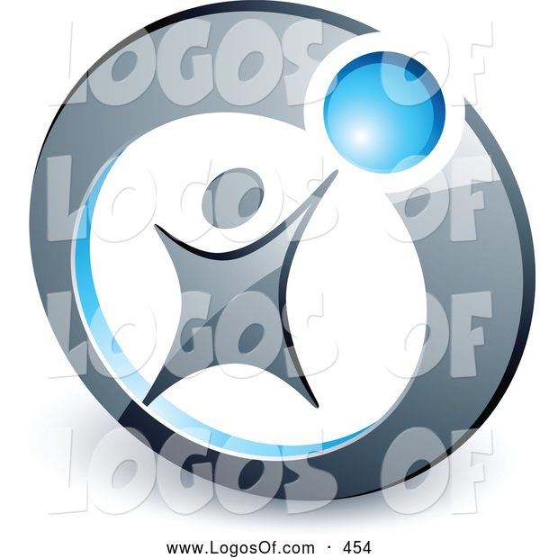 Logo Vector of a Person Reaching up to a Blue Ball Set in a Circle, Above Space for a Business Name and Company Slogan