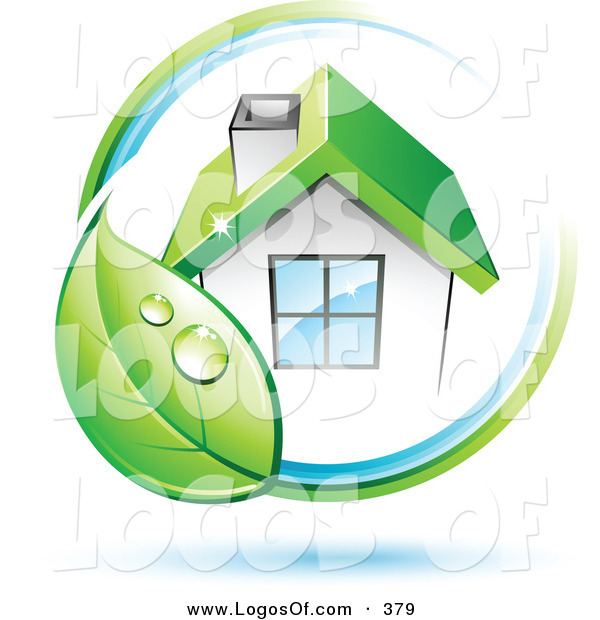 Logo Vector of a Pre-Made Company Logo of Dewy Green Leaf Circling a House with a Green Roof, with Space for a Business Name and Company Slogan Below on White