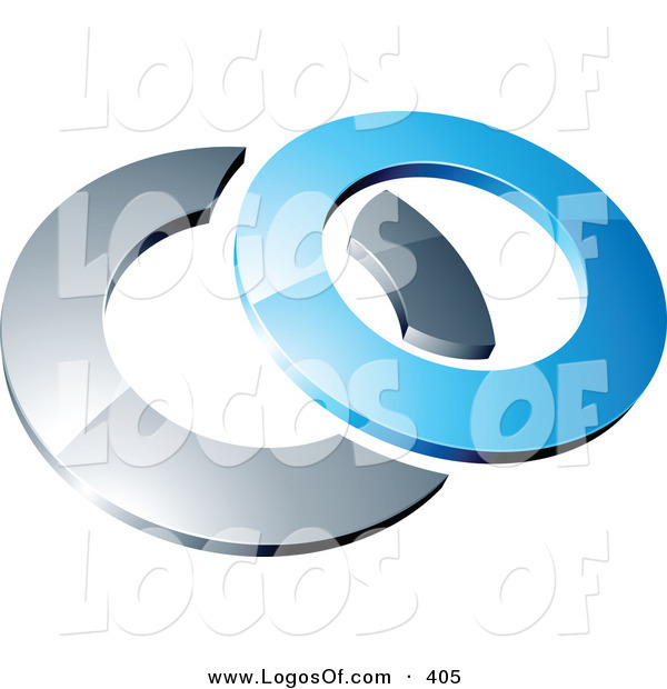 Logo Vector of a Pre-Made Logo of a Blue Shiny 3d Ring Intersecting a Chrome Circle, Above Space for a Business Name and Company Slogan