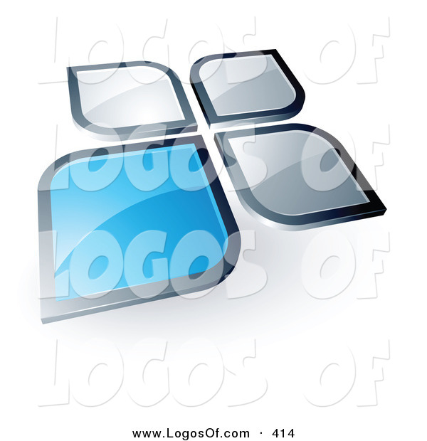 Logo Vector of a Pre-Made Logo of a Blue Square or Flower Petal Standing out from Gray Ones, with Space for a Business Name and Company Slogan Below
