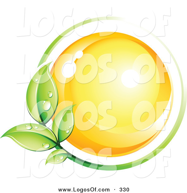 Logo Vector of a Pre-Made Logo of a Bright Yellow Orb Circled by a Green Vine Above a Space for a Business Name and Company Slogan