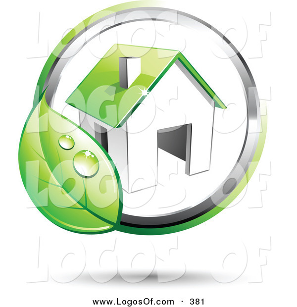 Logo Vector of a Pre-Made Logo of a Broad Circling Dewy Green Leaf Around a Home, with Space for a Business Name and Company Slogan to the Right