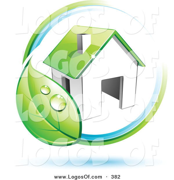 Logo Vector of a Pre-Made Logo of a Circling Dewy Green Leaf Around a House, with Space for a Business Name and Company Slogan Below on White