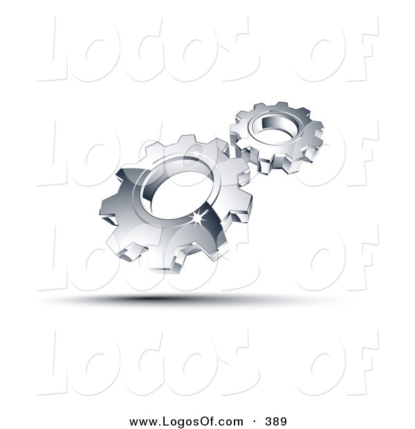 Logo Vector of a Pre-Made Logo of a Couple Shiny Silver Gears Above Space for a Business Name and Company Slogan