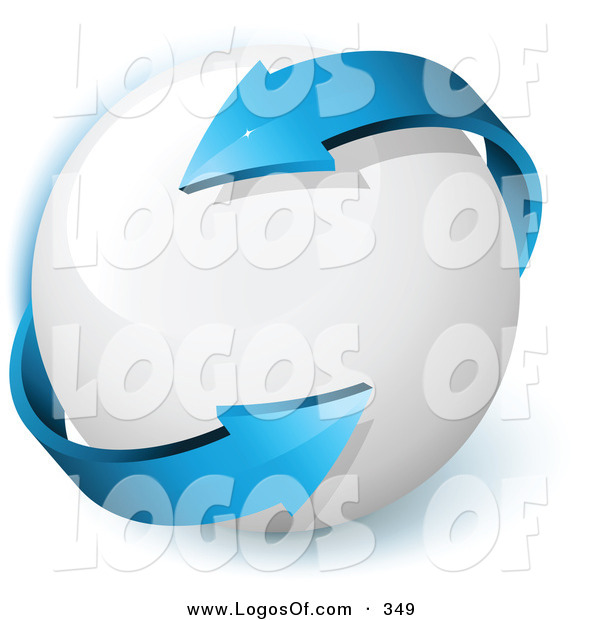 Logo Vector of a Pre-Made Logo of a Double Ended Blue Arrow Twirling Around a White Orb, with Space for a Business Name and Company Slogan on White