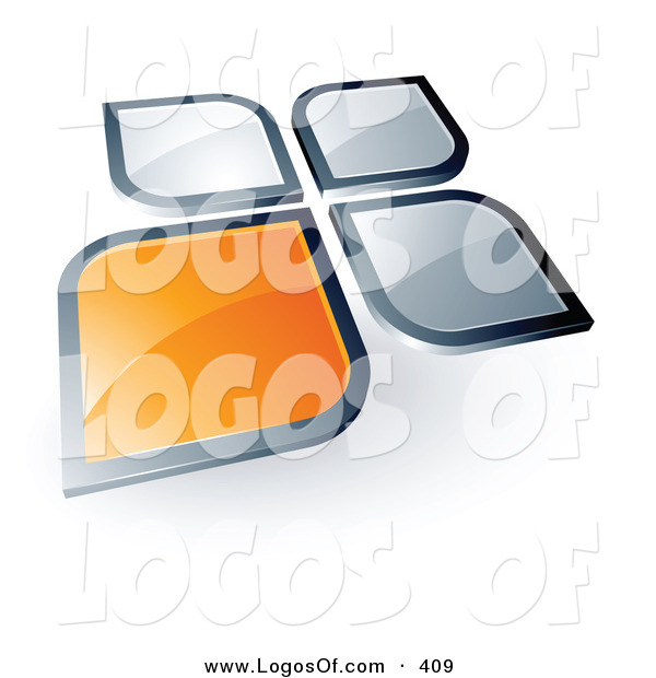 Logo Vector of a Pre-Made Logo of a Flower Shape with an Orange Square or Petal Standing out from Three Gray Ones, with Space for a Business Name and Company Slogan Below