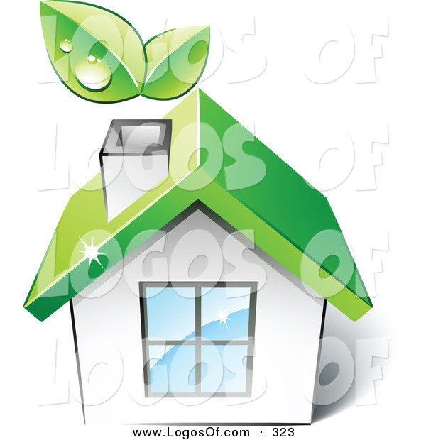 Logo Vector of a Pre-Made Logo of a Green House with Leaves Sprouting from the Chimney, with Space for a Business Name and Company Slogan over White