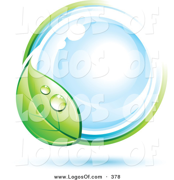 Logo Vector of a Pre-Made Logo of a Large Dewy Green Leaf Circling a Blue Orb, with Space for a Business Name and Company Slogan Below on White