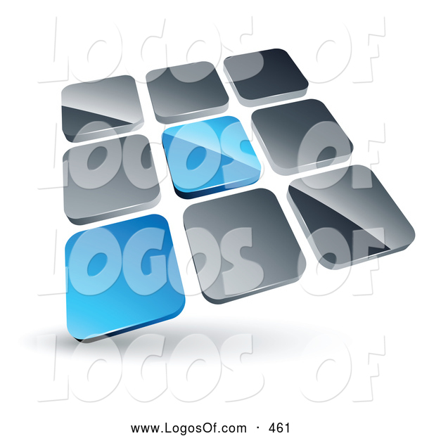 Logo Vector of a Pre-Made Logo of a Pair of Blue Tiles Standing out from Rows of Silver Tiles