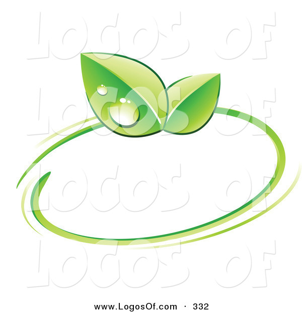 Logo Vector of a Pre-Made Logo of a Pair of Green Dew Covered Leaves and a Circle Around a Space for a Business Name and Company Slogan