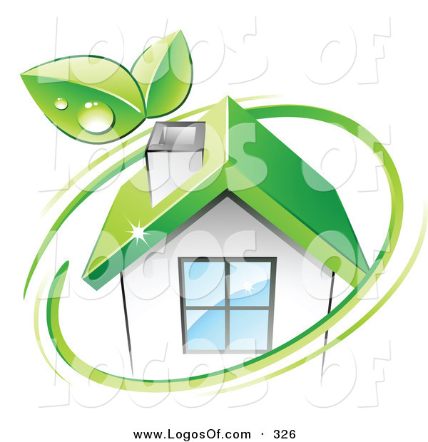Logo Vector of a Pre-Made Logo of a Pair of Green Leaves and a Green Circle over an Eco Friendly Home with Space for a Business Name and Company Slogan