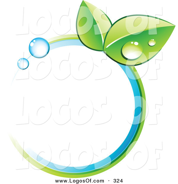 Logo Vector of a Pre-Made Logo of a Pair of Leaves and Colors in a Circle to the Right of a Space for a Business Name and Company Slogan
