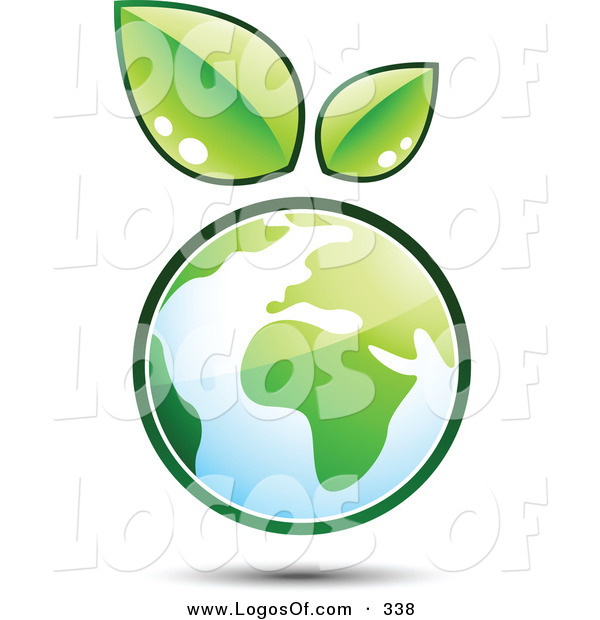 Logo Vector of a Pre-Made Logo of a Pair of Leaves Sprouting on Top of a Globe, to the Left of a Space for a Business Name and Company Slogan