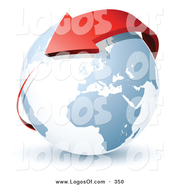 Logo Vector of a Pre-Made Logo of a Red Arrow Wrapping Around Planet Earth to the Left of a Space for a Business Name and Company Slogan on White