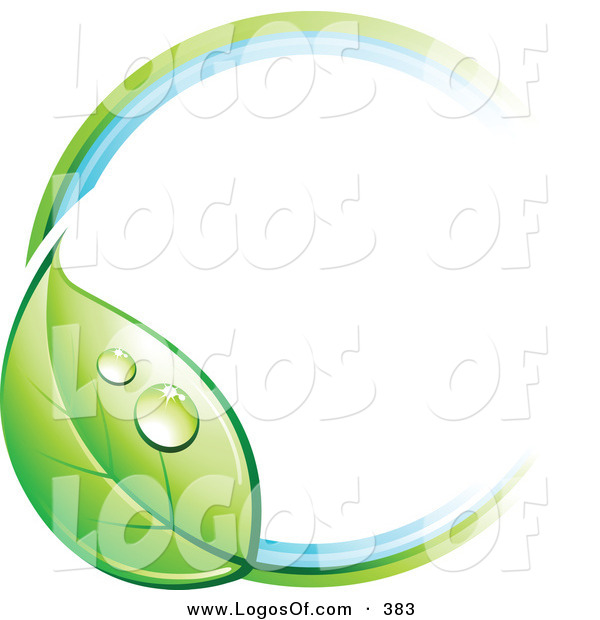Logo Vector of a Pre-Made Logo of a Ring with a Dewy Green Leaf, with Space for a Business Name and Company Slogan to the Right on White