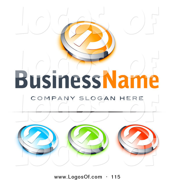 Logo Vector of a Pre-Made Logo of a Single Orange and Chrome Power Button, Blue Green and Red Buttons Also Included, with Space for a Business Name and Company Slogan Below