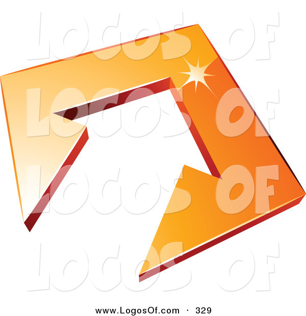 Logo Vector of a Pre-Made Logo of an Arrow in an Orange Tile in the Center of a Space for a Business Name and Company Slogan over White