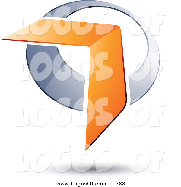 Logo Vector of a Pre-Made Logo of an Orange Boomerang or Arrow over a Chrome Circle, Above Space for a Business Name and Company Slogan over White