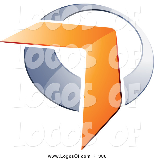 Logo Vector of a Pre-Made Logo of an Orange Boomerang or Arrow over a Pretty Chrome Circle, to the Left of Space for a Business Name and Company Slogan