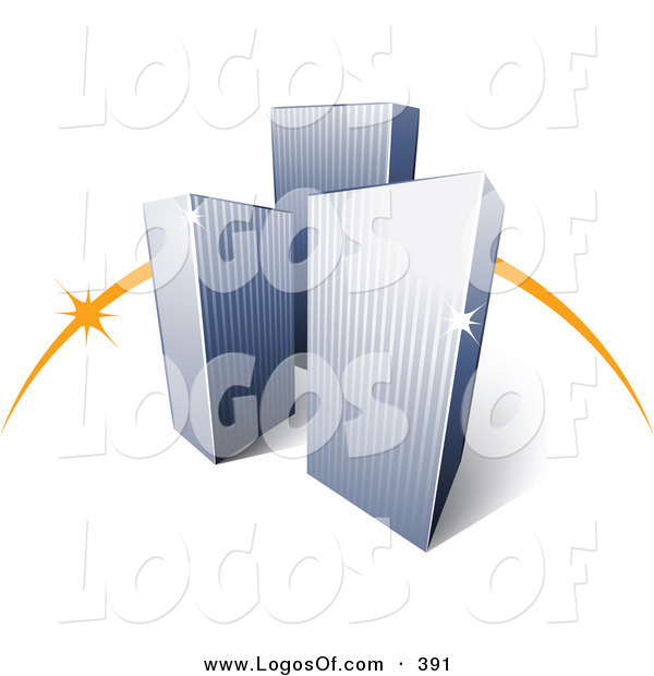 Logo Vector of a Pre-Made Logo of an Orange Dash Behind Three Tall City Skyscrapers Above Space for a Business Name and Company Slogan over White
