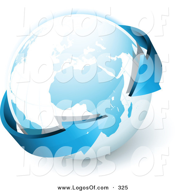 Logo Vector of a Pre-Made Logo of Blue Arrows Wrapping Around Planet Earth to the Left of a Space for a Business Name and Company Slogan