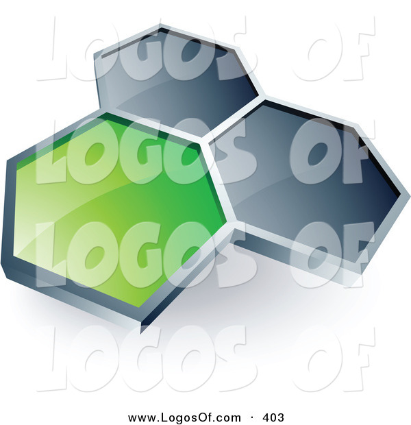 Logo Vector of a Pre-Made Logo of One Green Honeycomb Connected to Two Others, Above Space for a Business Name and Company Slogan on White