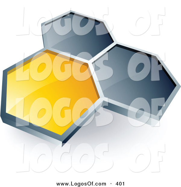 Logo Vector of a Pre-Made Logo of One Yellow Honeycomb Connected to Two Gray Others, Above Space for a Business Name and Company Slogan