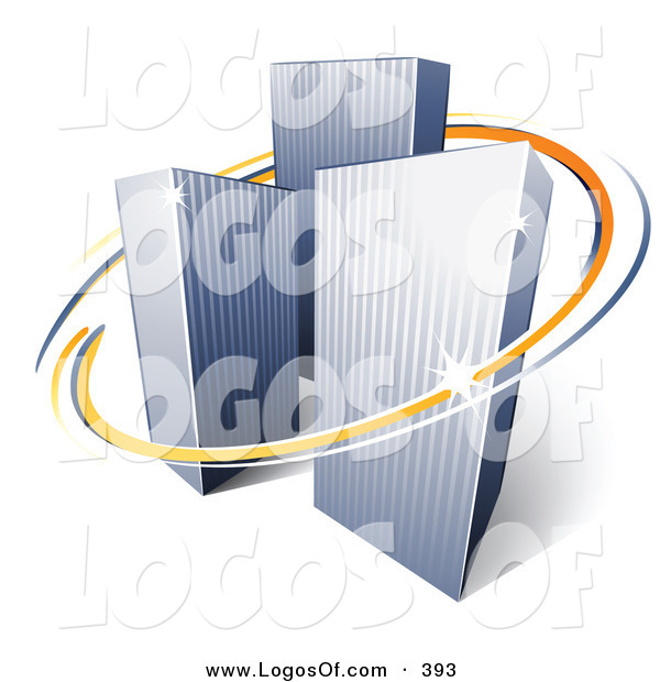 Logo Vector of a Pre-Made Logo of Orange and Blue Lines Circling Three Tall City Skyscrapers Above Space for a Business Name and Company Slogan over White