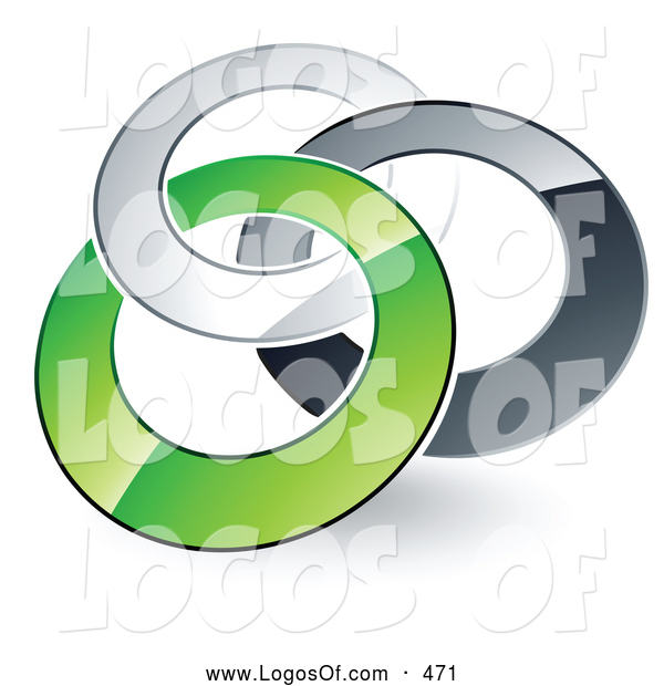 Logo Vector of a Pre-Made Logo of Rotating Silver, Gray and Green Rings Entwined