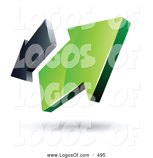 Logo Vector of a Pre-Made Logo of Two Green and Gray Arrows Going in Opposite Directions