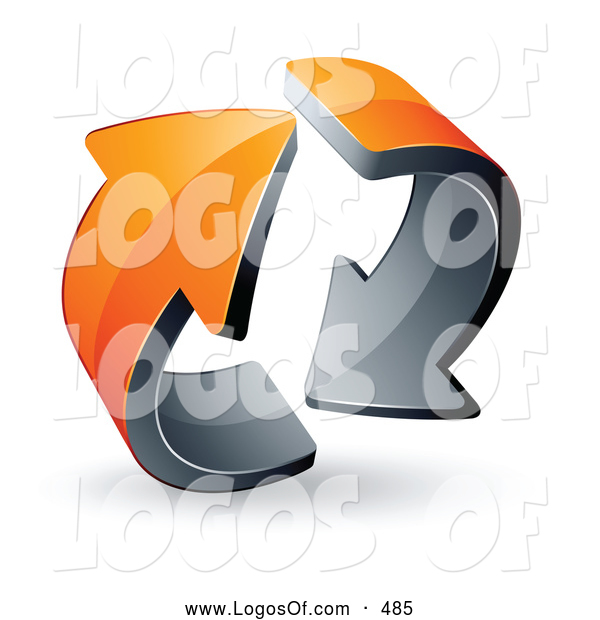Logo Vector of a Pre-Made Logo of Two Rotating Circling Orange Arrows