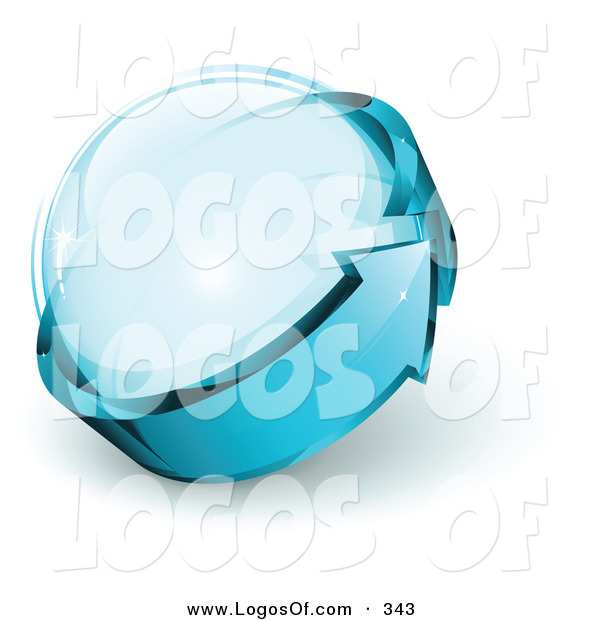 Logo Vector of a Pre-Made See Through Logo of Blue Arrow Circling a Glass Sphere, with Space for a Business Name and Company Slogan