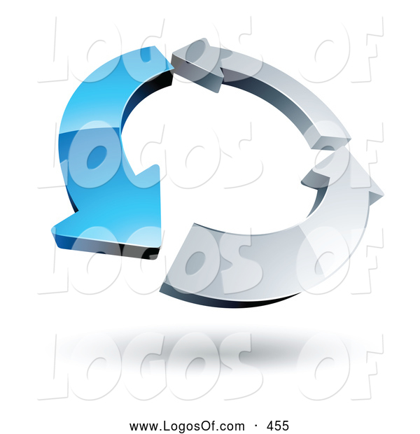 Logo Vector of a Ring of One Blue Arrow and Two Chrome Arrow