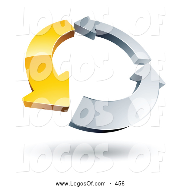 Logo Vector of a Ring of One Yellow Arrow and Two Chrome Arrow