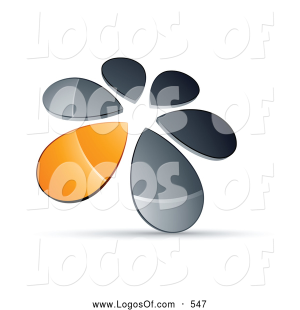 Logo Vector of a Ring or Circle of Chrome and Orange Droplets Forming a Windmill