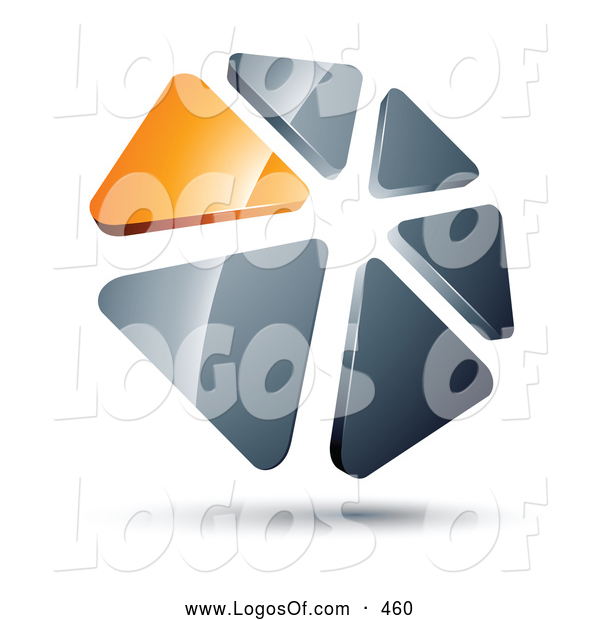 Logo Vector of a Ring or Circle of Orange and Silver Triangles