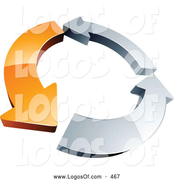 Logo Vector of a Rotating 3d Circle of One Orange Arrow and Two Chrome Arrow, Forming a Recycle Icon