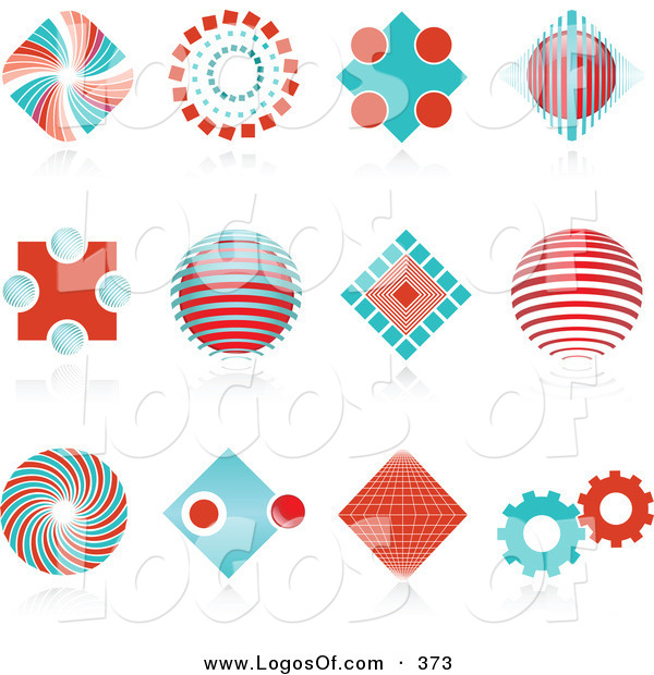 Logo Vector of a Set of Many Red and Blue Spiral, Diamond, Globe and Gear Logo Icons over Reflective Surfaces
