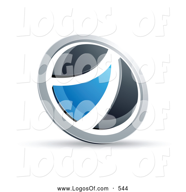 Logo Vector of a Shiny Black and Blue Round Button
