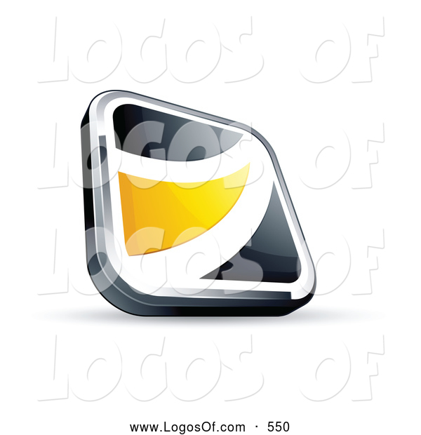 Logo Vector of a Shiny Black Square Button with a Yellow Wave
