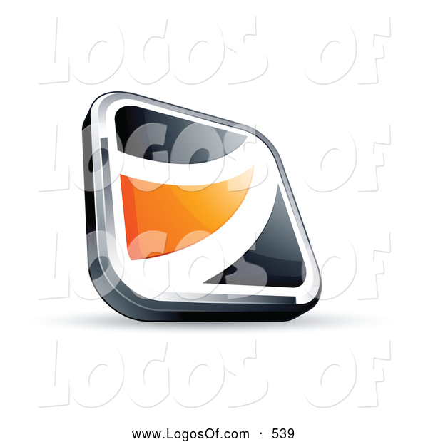 Logo Vector of a Shiny Black Square Button with an Orange Wave