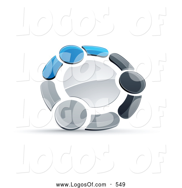 Logo Vector of a Shiny Circle of Three Blue, Gray and Black People Holding Hands