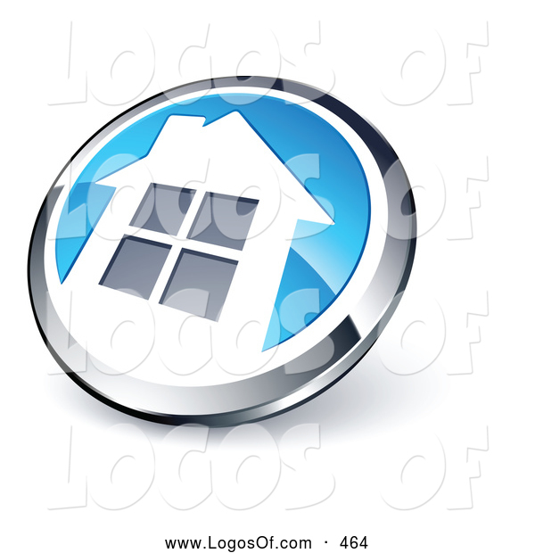 Logo Vector of a Shiny Circular Chrome and Blue Home Button