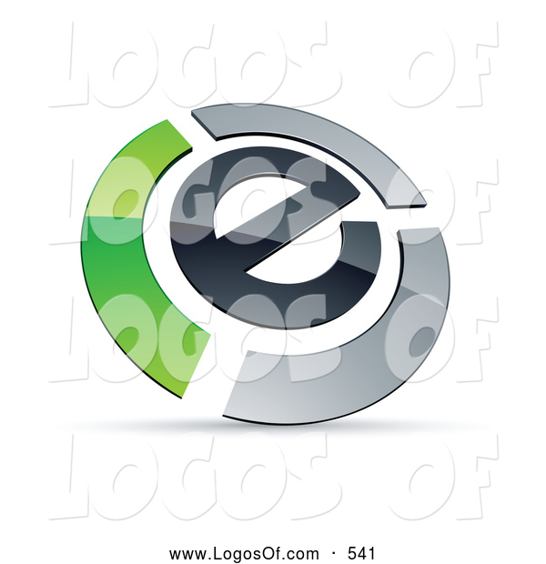 Logo Vector of a Shiny E Circled by Chrome and Green Bars